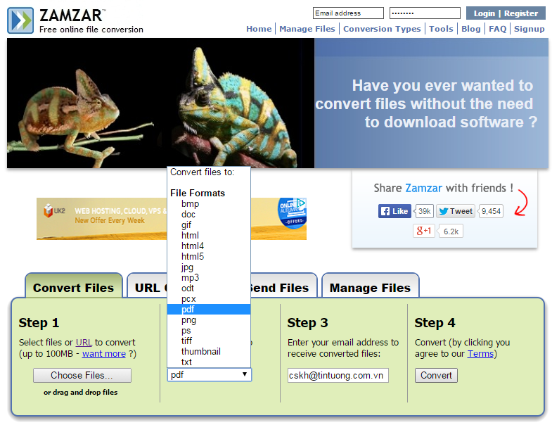 Chuyển đổi các định dạng file văn bản bằng Zamzar