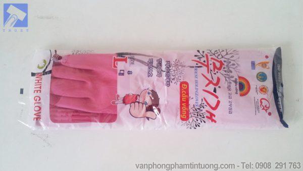 Găng tay cao su màu hồng